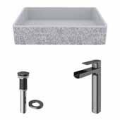 VIGO 21-1/4'' Wide Concrete Composite Grey Rectangular Dahlia Vessel Bathroom Sink Set with Amada Vessel Mount 1-Handle Single-Hole Bathroom Faucet in Graphite Black with Pop-Up Drain