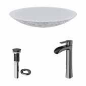 VIGO 23-1/8'' Wide Concrete Composite Grey Round Oval Yarrow Vessel Bathroom Sink Set with Niko Vessel Mount 1-Handle Single-Hole Bathroom Faucet in Graphite Black with Pop-Up Drain