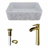 VIGO 17-3/4'' Wide Concrete Composite Grey Rectangular Zinnia Vessel Bathroom Sink Set with Niko Vessel Mount 1-Handle Single-Hole Bathroom Faucet in Matte Brushed Gold with Pop-Up Drain