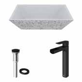VIGO 18'' Wide Concrete Composite Grey Square Calendula Vessel Bathroom Sink Set with Niko Vessel Mount 1-Handle Single-Hole Bathroom Faucet in Matte Brushed Gold with Pop-Up Drain
