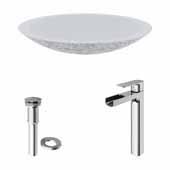 VIGO 23-1/8'' Wide Concrete Composite Grey Round Oval Yarrow Vessel Bathroom Sink Set with Amada Vessel Mount 1-Handle Single-Hole Bathroom Faucet in Brushed Nickel with Pop-Up Drain