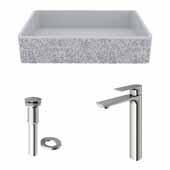 VIGO 21-1/4'' Wide Concrete Composite Grey Rectangular Dahlia Vessel Bathroom Sink Set with Norfolk Vessel Mount 1-Handle Single-Hole Bathroom Faucet in Brushed Nickel with Pop-Up Drain