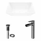 VIGO 18'' Wide Vinca Matte Stone™ Vessel Bathroom Sink and Amada Vessel Mount 1-Handle Single-Hole Bathroom Faucet in Graphite Black with Pop-Up Drain