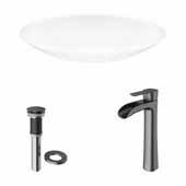 VIGO 23-1/8'' Wide Wisteria Matte Stone™ Vessel Bathroom Sink and Niko Vessel Mount 1-Handle Single-Hole Bathroom Faucet in Graphite Black with Pop-Up Drain