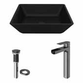 VIGO 15-3/4'' Wide Black Roma MatteShell™ Vessel Bathroom Sink and Amada Vessel Mount 1-Handle Single-Hole Bathroom Faucet in Graphite Black with Pop-Up Drain