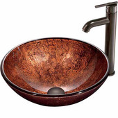 Mahogany Moon Glass Vessel Sink And Faucet Set In Oil Rubbed Bronze - 16-1/2'' Diameter x 6''H