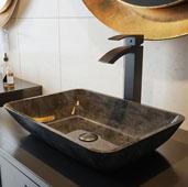 Rectangular Gray Onyx Glass Vessel Bathroom Sink Set with Duris Vessel Faucet in Matte Black, 17-7/8'' W x 13'' D x 4'' H