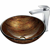 Amber Sunset Glass Vessel Sink And Faucet Set In Chrome - 16-1/2'' Diameter x 6''H