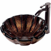 Walnut Shell Glass Vessel Sink And Faucet Set In Oil Rubbed Bronze - 16-1/2'' Diameter x 6''H