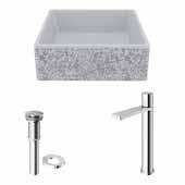VIGO 14-1/2'' Wide Concrete Composite Grey Square Aster Vessel Bathroom Sink Set with Gotham Faucet in Chrome with Pop-Up Drain