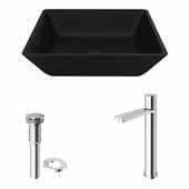 VIGO 15-3/4'' Wide Black Roma MatteShell™ Vessel Bathroom Sink and Gotham Faucet in Chrome with Pop-Up Drain