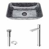 VIGO 18-1/8'' Wide Rectangular Titanium Glass Vessel Bathroom Sink and Gotham Faucet in Chrome with Pop-Up Drain
