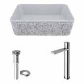 VIGO 17-3/4'' Wide Concrete Composite Grey Rectangular Zinnia Vessel Bathroom Sink Set with Gotham Faucet in Brushed Nickel with Pop-Up Drain