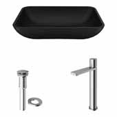 VIGO 18'' Wide Black Sottile MatteShell™ Vessel Bathroom Sink and Gotham Faucet in Brushed Nickel with Pop-Up Drain