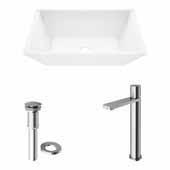 VIGO 18'' Wide Vinca Matte Stone™ Vessel Bathroom Sink and Gotham Faucet in Brushed Nickel with Pop-Up Drain