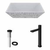 VIGO 18'' Wide Concrete Composite Grey Square Calendula Vessel Bathroom Sink Set with Gotham Faucet in Matte Black with Pop-Up Drain