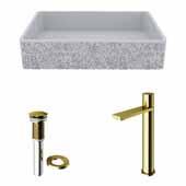 VIGO 21-1/4'' Wide Concrete Composite Grey Rectangular Dahlia Vessel Bathroom Sink Set with Gotham Faucet in Matte Brushed Gold with Pop-Up Drain