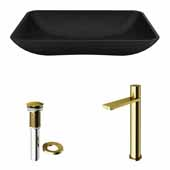 VIGO 22'' Wide Black Hadyn MatteShell™ Vessel Bathroom Sink and Gotham Faucet in Matte Brushed Gold and Matte Black with Pop-Up Drain