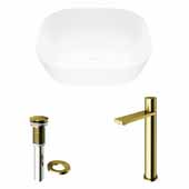 VIGO 14-3/8'' Wide Camellia Matte Stone™ Vessel Bathroom Sink and Gotham Faucet in Matte Brushed Gold with Pop-Up Drain