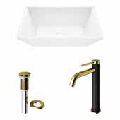 VIGO 18'' Wide Vinca Matte Stone™ Vessel Bathroom Sink and Lexington cFiber© Faucet in Matte Brushed Gold and Matte Black