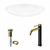 VIGO 23-1/8'' Wide Wisteria Matte Stone™ Vessel Bathroom Sink and Lexington cFiber© Faucet in Matte Brushed Gold and Matte Black with Pop-Up Drain