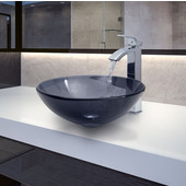 VIG-VGT252, Sheer Black Glass Vessel Sink and Faucet Set in Chrome, 16-1/2'' Diameter x 6'' H