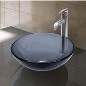 VIG-VGT257, Sheer Black Glass Vessel Sink and Faucet Set in Brushed Nickel