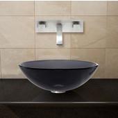 VIG-VGT262, Sheer Black Glass Vessel Sink and Wall Mount Faucet Set in Brushed Nickel