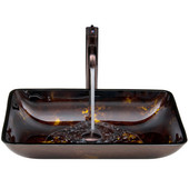 VIG-VGT276, Rectangular Brown and Gold Fusion Glass Vessel Sink and Faucet Set in Oil Rubbed Brozne, 22-1/4'' W x 14-1/2'' D x 4-1/2'' H