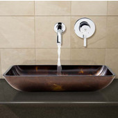 VIG-VGT278, Rectangular Brown and Gold Fusion Glass Vessel Sink and Wall Mount Faucet Set in Chrome