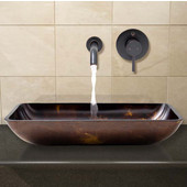 VIG-VGT280, Rectangular Brown and Gold Fusion Glass Vessel Sink and Wall Mount Faucet Set in Antique Rubbed Bronze
