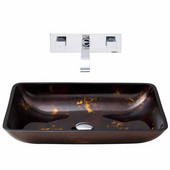 VIG-VGT281, Rectangular Brown and Gold Fusion Glass Vessel Sink and Wall Mount Faucet Set in Chrome