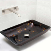 VIG-VGT282, Rectangular Brown and Gold Fusion Glass Vessel Sink and Wall Mount Faucet Set in Brushed Nickel