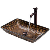 VIG-VGT284, Rectangular Golden Greek Glass Vessel Sink and Faucet Set in Oil Rubbed Bronze, 22-1/4'' W x 14-1/2'' D x 4-1/2'' H