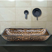 VIG-VGT288, Rectangular Golden Greek Glass Vessel Sink and Wall Mount Faucet in Antique Rubbed Bronze