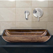 VIG-VGT295, Rectangular Amber Sunset Glass Vessel Sink and Wall Mount Faucet Set in Brushed Nickel