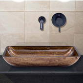VIG-VGT296, Rectangular Amber Sunset Glass Vessel Sink and Wall Mount Faucet in Antique Rubbed Bronze