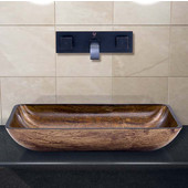 VIG-VGT299, Rectangular Amber Sunset Glass Vessel Sink and Wall Mount Faucet in Antique Rubbed Bronze