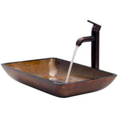 VIG-VGT300, Rectangular Russet Glass Vessel Sink and Faucet Set in Oil Rubbed Bronze, 22-1/4'' W x 14-1/2'' D x 4-1/2'' H