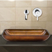 VIG-VGT302, Rectangular Russet Glass Vessel Sink and Wall Mount Faucet Set in Chrome