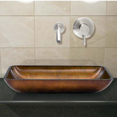 VIG-VGT303, Rectangular Russet Glass Vessel Sink and Wall Mount Faucet Set in Brushed Nickel
