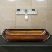 VIG-VGT306, Rectangular Russet Glass Vessel Sink and Wall Mount Faucet Set in Brushed Nickel