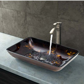 VIG-VGT309, Rectangular Brown and Gold Fusion Glass Vessel Sink and Otis Faucet Set in Brushed Nickel