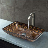 VIG-VGT311, Rectangular Golden Greek Glass Vessel Sink and Otis Faucet Set in Brushed Nickel