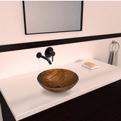 VGT343, Amber Sunset Glass Vessel Sink and Olus Wall Mount Faucet Set in Antique Rubbed Bronze