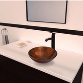 VGT347, Kenyan Twilight Glass Vessel Sink and Seville Faucet Set in Oil Rubbed Bronze