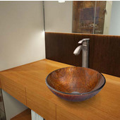 VGT348, Kenyan Twilight Glass Vessel Sink and Otis Faucet Set in Brushed Nickel