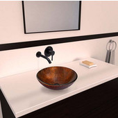 VGT349, Kenyan Twilight Glass Vessel Sink and Olus Wall Mount Faucet Set in Antique Rubbed Bronze