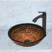 16-1/2''Dia. Golden Greek Glass Vessel Sink and Linus Faucet Set in Antique Rubbed Bronze Finish