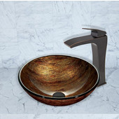 16-1/2''Dia. Amber Sunset Glass Vessel Sink and Blackstonian Faucet Set in Antique Rubbed Bronze Finish